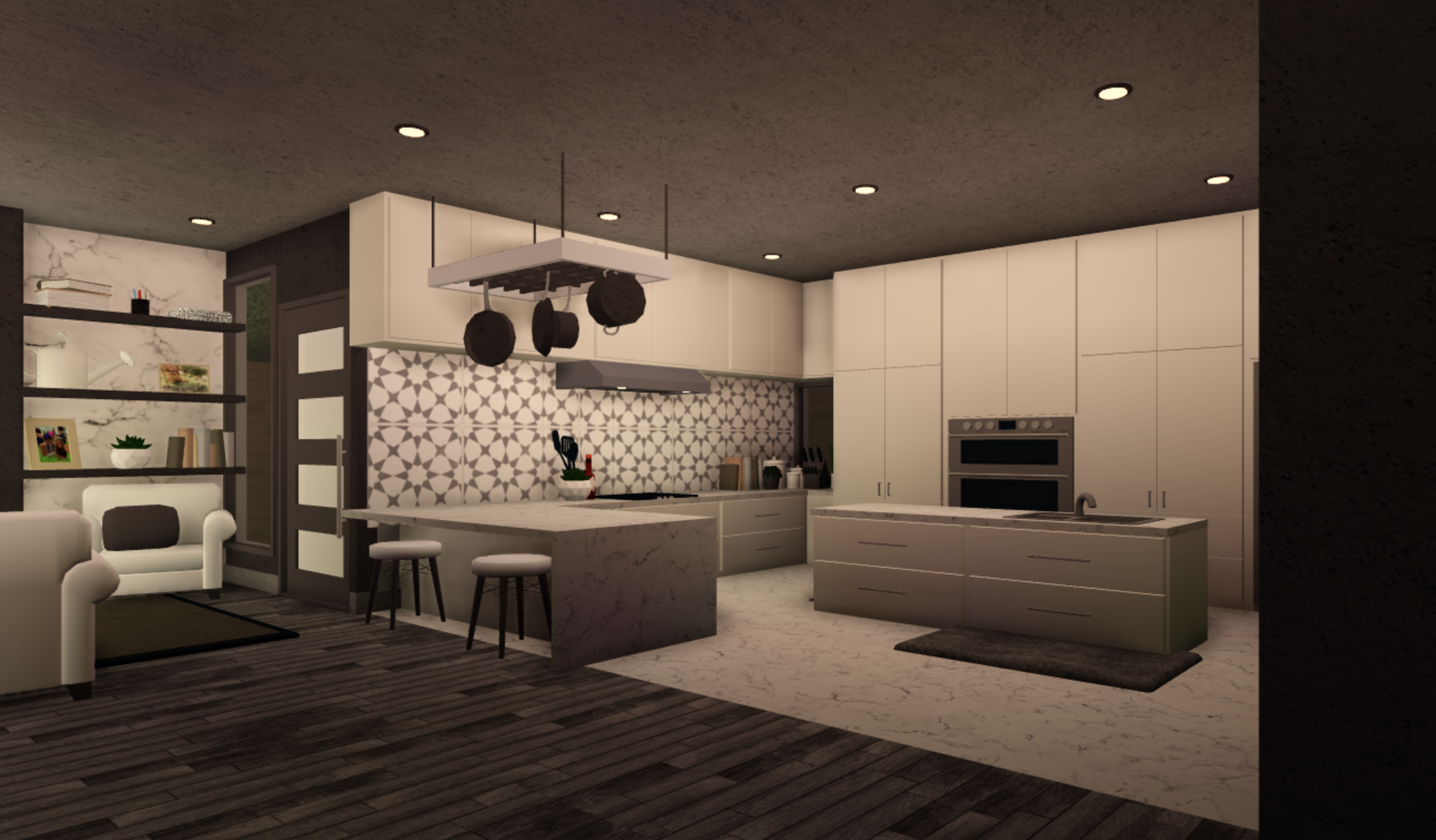 Queen Cre8tive On Twitter Modern Yet Cozy Kitchen Favorite Kitchen I Ve Ever Done And Honestly I Got The Backsplash Tile From So Just Know That I Don T Claim It Rbx Coeptus Froggyhopz Rblx