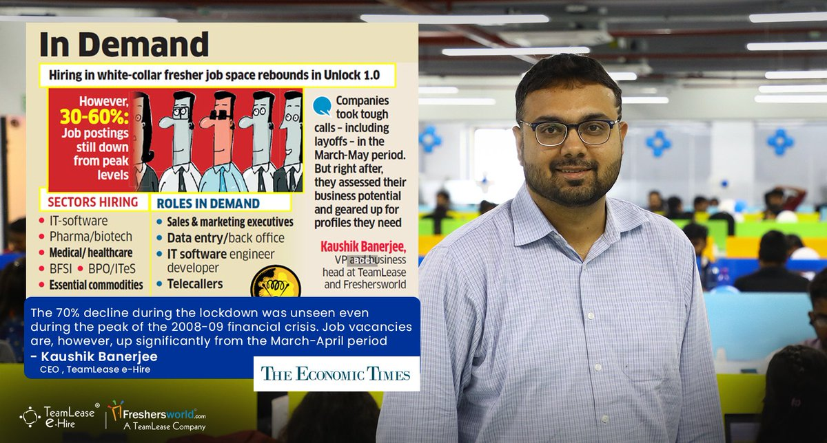 "@kaushikappu2000, CEO @teamleaseehire was mentioned in the article titled: ""Unlock 1.0: White-collar jobs for freshers gain pace"" by @sreeradhabasuET in @EconomicTimes @BangaloreMirror  Read more at: http://fwld.in/et13july   #Unlock1 #Unlock2 #WhiteCollar #Gigs #GigJobs #Fresherspic.twitter.com/c9jXUb4Q6G"