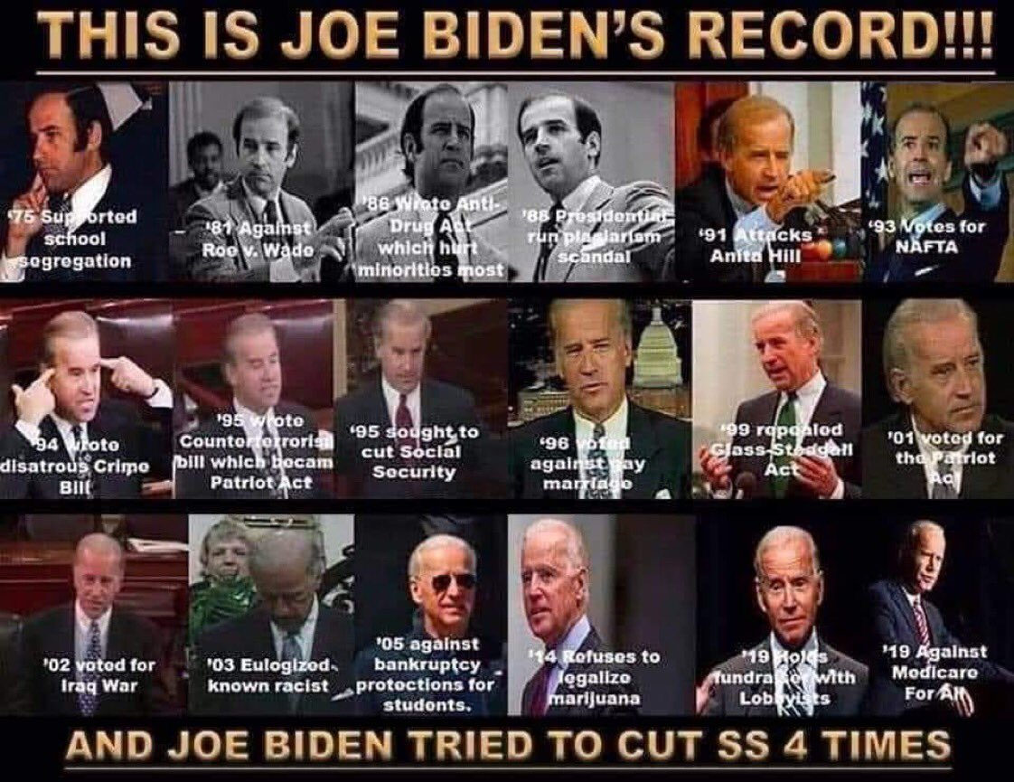 @MizCoretta @ProudSocialist @ShahidForChange Why do you think he's not? His point is Biden would ALSO be a terrible POTUS.  Biden's has been on the wrong side of nearly every issue for 40 yrs.  From segregation to LGBT rights to abortion to the Iraq wars, even cuts to Social Sec! #DropOutBiden
