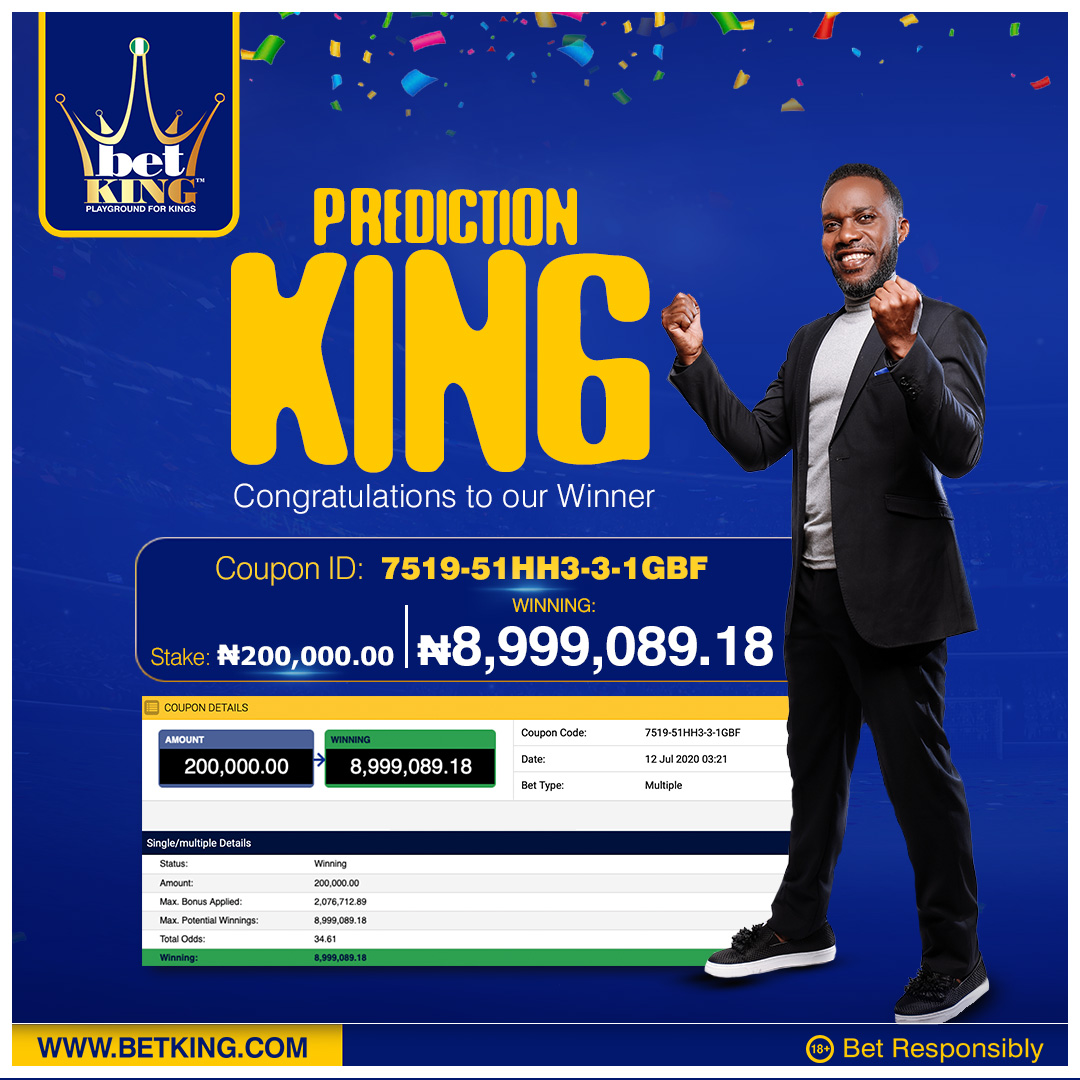 What do you do with 10 odds and an accumulator bonus of over 2 million naira?  Win ₦8,999,089.18 of course. 😉  Kings and Queens, join us in celebrating our prediction king for the week. 👏👏👏  #PredictionKing #PlaygroundForKings https://t.co/qknFWLz6zx
