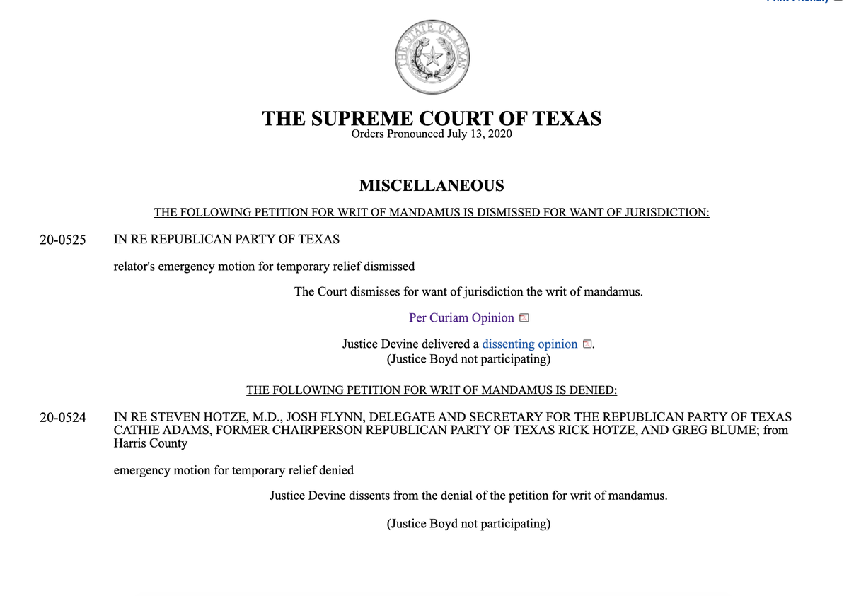 "Texas Supreme Court rejects Texas GOP's appeal to force an in-person convention: ""The Party argues it has constitutional rights to hold a convention...& that is unquestionably true. But those rights do not allow it to simply commandeer use of the Center.""  https://t.co/S9vEB2MoyF https://t.co/zhxtnyrANB"