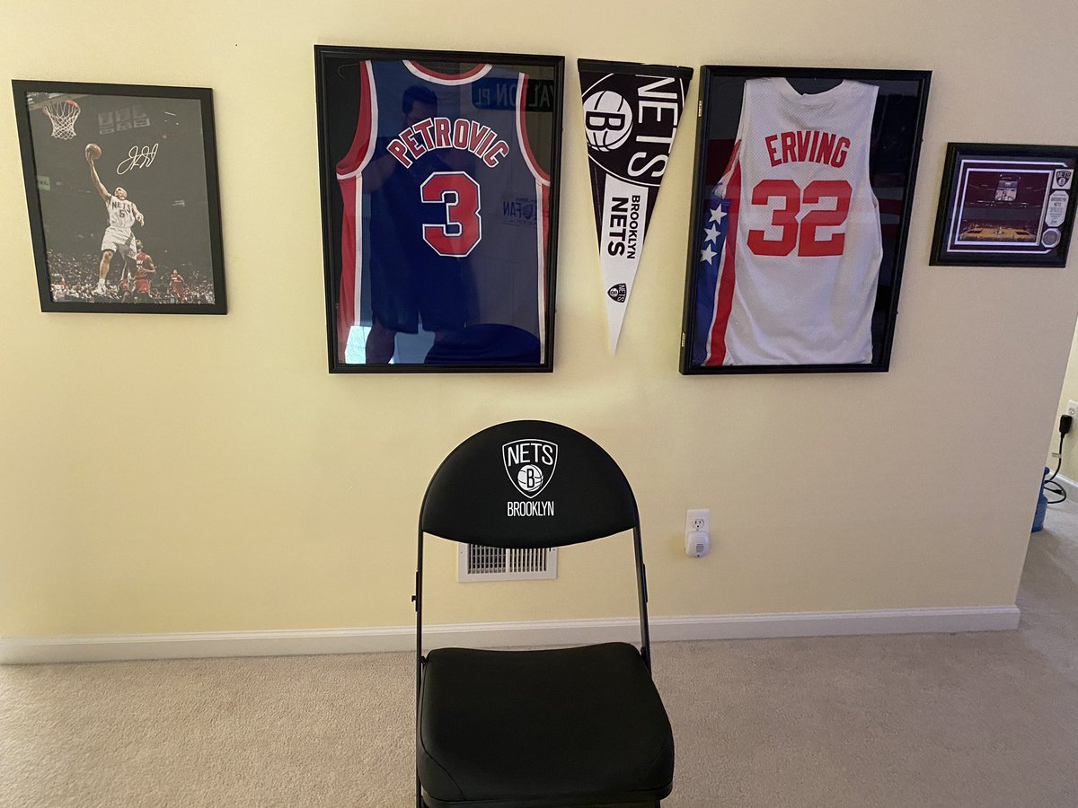 Since we can't be @barclayscenter for the playoffs, I had to go and get my own courtside seat. Shout out to @specseatshop for the awesome chair. #WeGoHard @BrooklynNets https://t.co/MI9cR6abd7