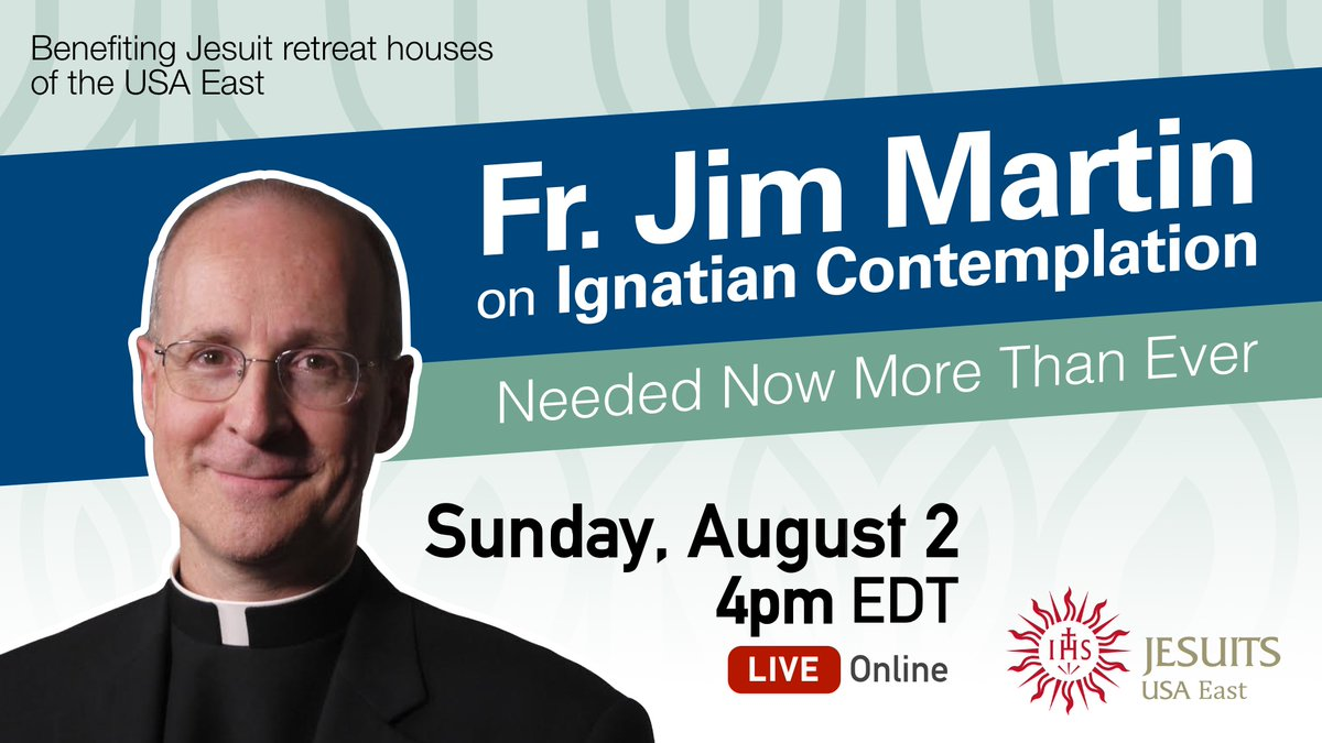Renowned Jesuit priest @JamesMartinSJ will offer an interactive, online webinar about Ignatian Contemplation on Sunday, Aug. 2 at 4pm to benefit the Jesuit retreat houses of the Eastern United States. Register & more info: https://t.co/nqWIq97W50 https://t.co/PdMYF9g2Rs