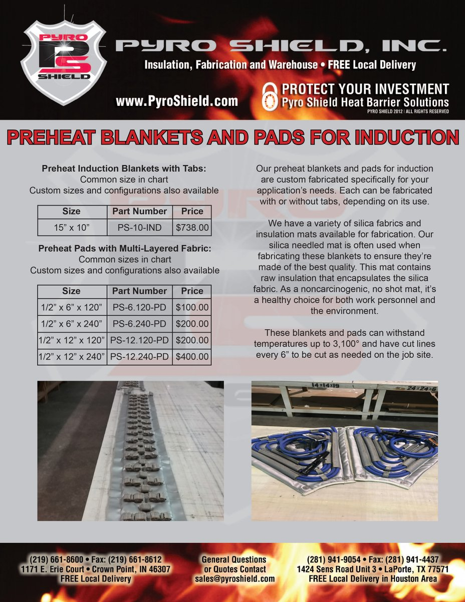 All the induction fabrication accessories you could want at unbeatable prices! Check out our line cards for more info on our preheat and PWHT blankets and sleeves! #induction #preheat #pwht #sleeves #fabrication https://t.co/GyCxIj9K4Z