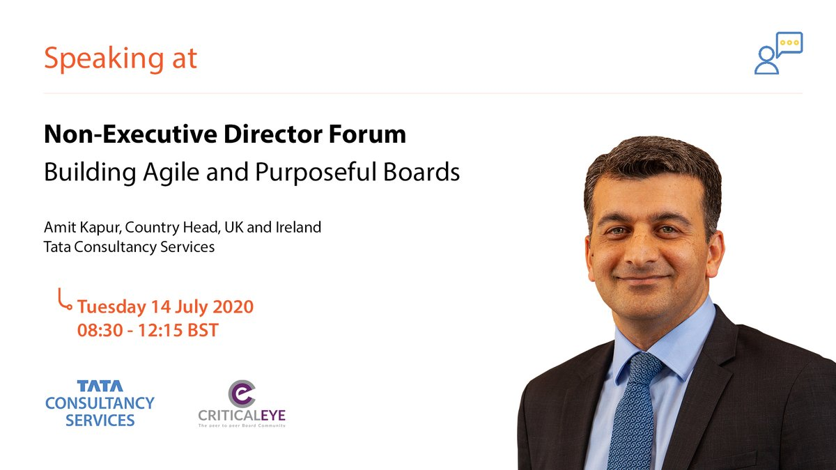 .@TCS's Amit Kapur, UK and Ireland Country Head, will be speaking at the @CriticaleyeUK on the topic of creating a customer-centric board in a post COVID-19 world. Follow #NEDforum for updates from the event. https://t.co/YZENKMYskY https://t.co/iEPc1Z0i7t