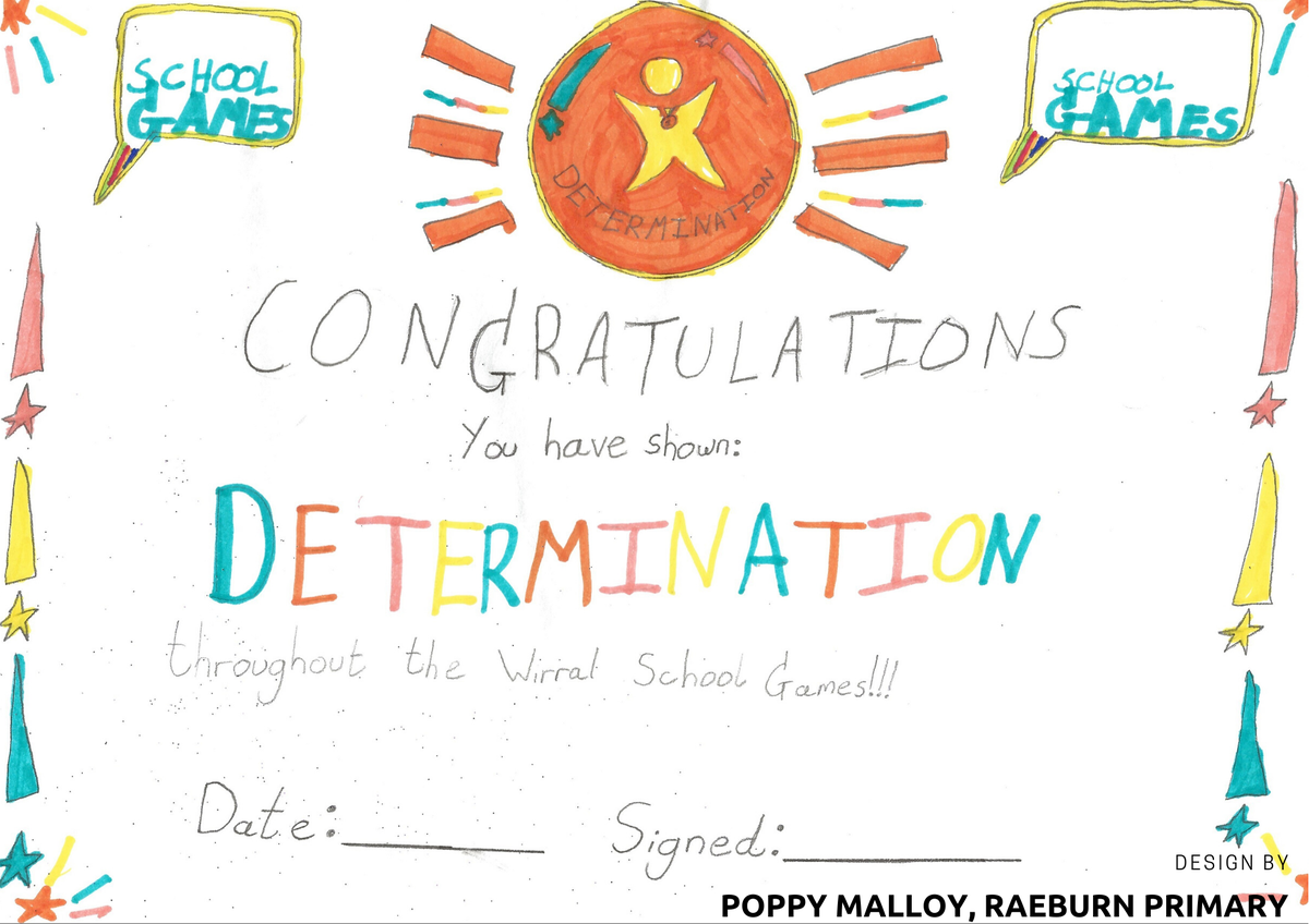 Well done, Poppy! We're so proud of you for winning the WSG postcard competition! ⭐️ Let's hope our children receive this award for determination at an event next year! ⭐️ #HMHB @WirralSG #RaeburnPE