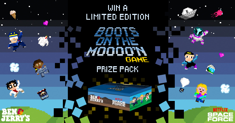 ONE WEEK left to win! Play the Boots On The Moooo'n arcade game between now and July 20th for your last chance to win a limited-edition prize pack! @netflix @realspaceforce Play now: https://t.co/Ep9mzyDdFV Rules: https://t.co/1cbdNEHfgy https://t.co/NjqRlKR9Nx