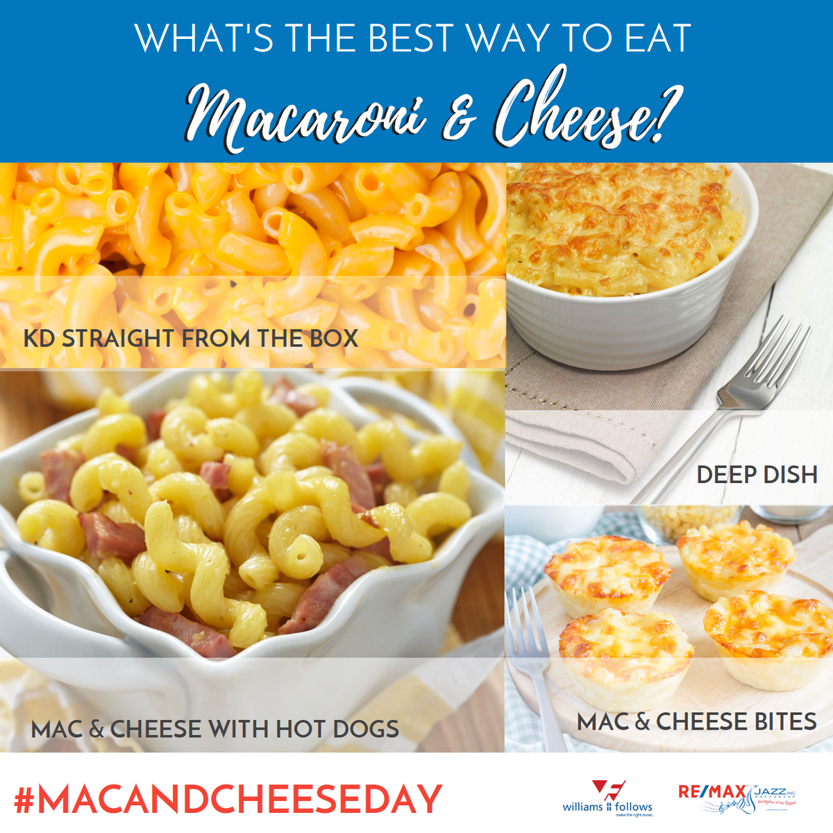 Today is National #macandcheeseday! How do you prefer to eat your Mac & Cheese? Baked? Extra cheese? Tell us your favourites in the comments, bonus points for sharing recipes!  #macandcheese #kd #macaroniandcheese #yum #cheesey https://t.co/kXwCmr0H8Y