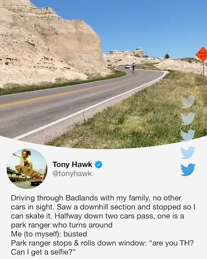 A park ranger stopped @tonyhawk and asked for a selfie 😂 https://t.co/CnjUmTt7Zs
