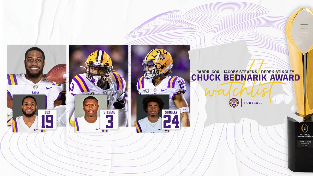 Jabril Cox, JaCoby Stevens and Derek Stingley are on the @BednarikAward watch list! #GeauxTigers https://t.co/swqeTtuEWA