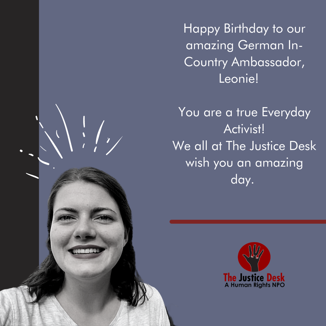 A very Happy Birthday to our amazing In Country German Ambassador, Leonie!  We have no doubt you will continue bring awareness and change to the world!   #thejusticedesk #humanrights #everydayactivist #happybirthday #justice #equality #germany #awareness #change #impact #powerful https://t.co/AYcyWXhZcj