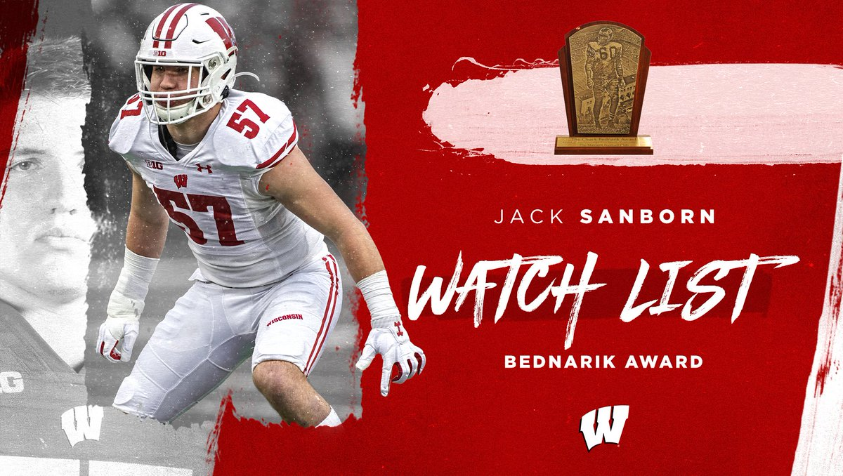 Yessir! Congrats to our man @JackSanborn79 on being named to the Bednarik Award watch list!   #OnWisconsin » #Badgers https://t.co/aErcxM0Coo