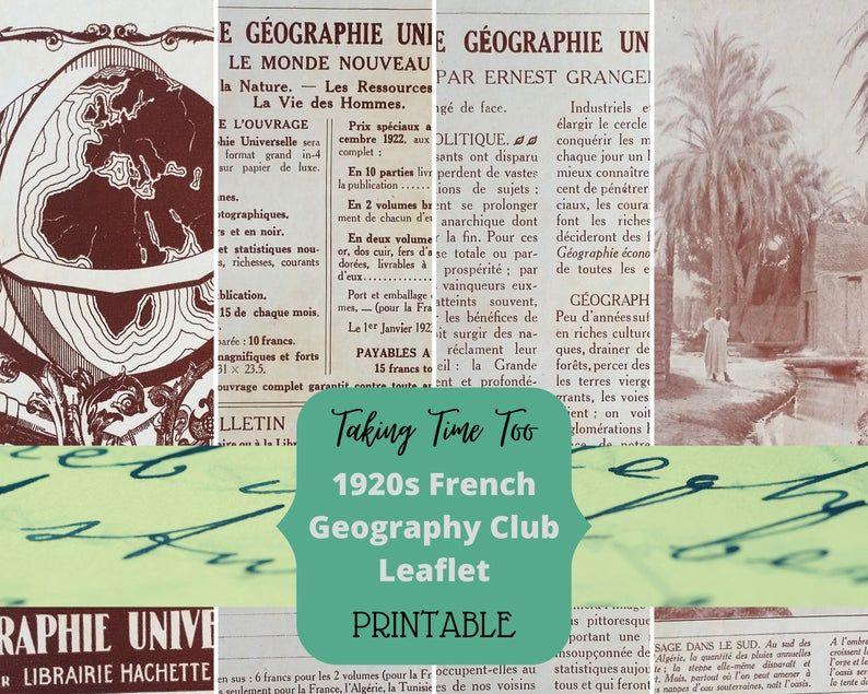 1920s FRENCH GEOGRAPHY CLUB Leaflet for Ernest Granger. | Etsy https://buff.ly/2CtC5Wu #TakingTimeTo #Frenchprintables #vintageFrench #Frenchephemera #ephemera #printables #crafting #junkjournal #scrapbook  #1920s #geographypic.twitter.com/PavbdFqUQp