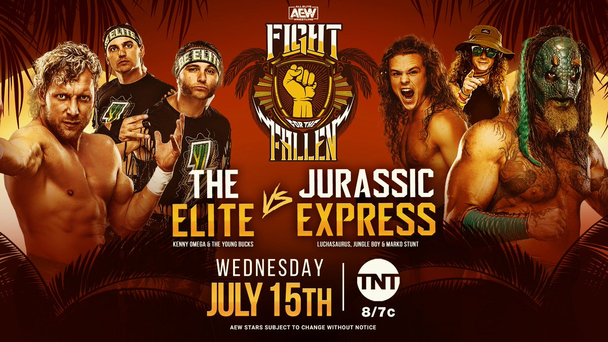 The Elite are BACK as they face Jurassic Express this Wednesday at Fight for the Fallen. Watch Fight for the Fallen on Wednesday, July 15th, at 8e7c on @TNTDrama. #AEWDynamite #AEWonTNT