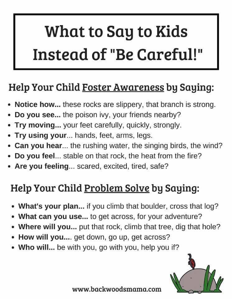"This is wonderful #riskyplay advice!  It's so easy to say ""Be Careful!"" but these suggestions are so much more meaningful."