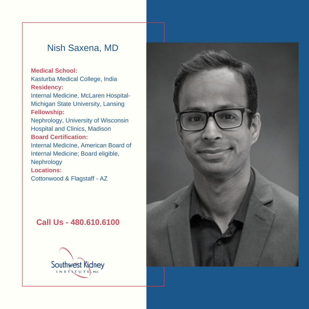 Meet our physician - Nish Saxena, MD - https://t.co/Fu0qn8sgT1 To schedule an appointment with us, please visit - https://t.co/VYTWHKMiJD Call us - 480.610.6100 #health #dialysis #transplant #KidneyDisease #CKD #SouthWestKidneyInstitute #physician https://t.co/bGqUGUcnj0