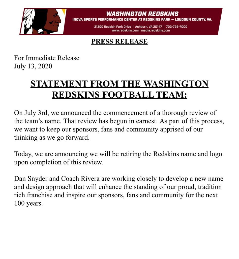 Dan Snyder said the Washington Football name would NEVER change. But it looks like never is today.   This is the result of decades of Native activism, mostly led by native women. #notyourmascot