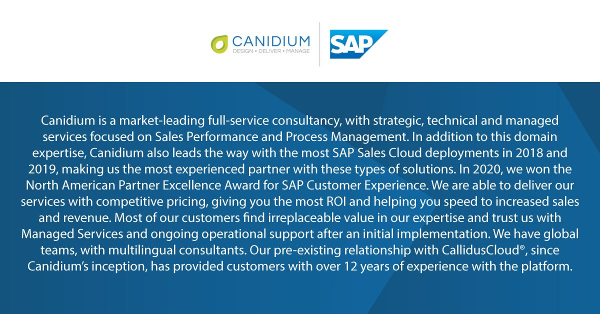 Why should you choose Canidium? Our dedicated @SAP_CX practice and experience ensure that you are in good hands! Contact our team to learn more.  #SAP #SAPCX #CustomerExperience #CX #TheBestRun #CPQ #Commissions #ICM #SPM #Sales #SalesOps ##Consultants #Data #Tech #Software https://t.co/CBeXbb0Euq