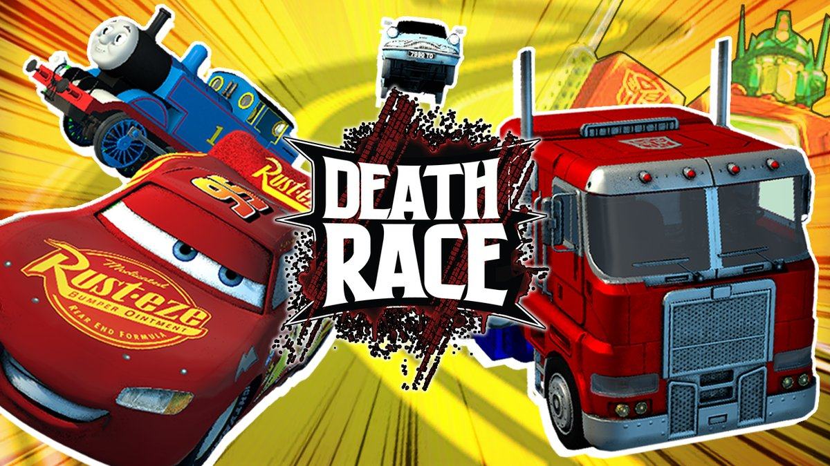 death battle on twitter the second deathrace is now on youtube https t co 0xfn2bvuni things get crazy as optimus prime thomas the tank engine lightning mcqueen and the flying car from harry potter begin death battle on twitter the second