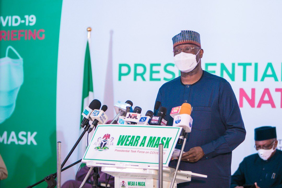 """""""@PTFCOVID19 recognises efforts by innovators & research institutes working towards a cure for #COVID19. We should refrain from misleading the public until a cure is validated for use in Nigeria""""   ~ Boss Mustapha, PTF Chairman at ongoing press briefing.  Livestream👇🏽 https://t.co/6BDCunm5Un https://t.co/ZBG975OK8k"""