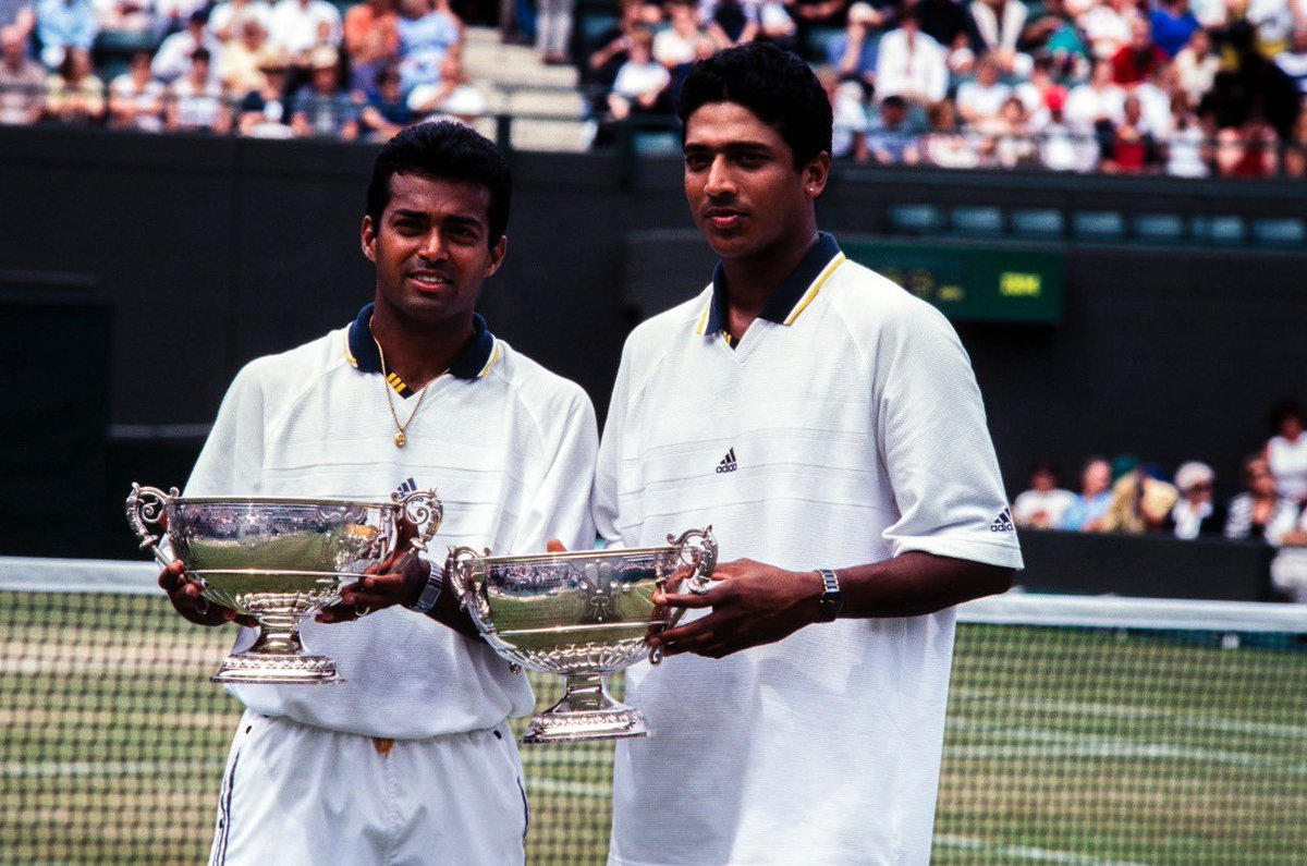 """One of the great joys I have in my life is to create history around the world. Reliving this title with @Maheshbhupathi brought back years of memories. Great interview @tash_shah24 in bringing out the Magic of the """"Indian Express"""". 👏🏽🍓🎾🌱 @Wimbledon  https://t.co/RpRxdeHUNN https://t.co/k1XgsoeTRS"""