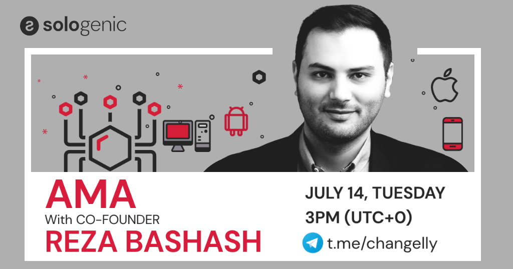 Join #Sologenic co-founder @rezabashash for an AMA hosted by @Changelly_team on their @telegram group 💪  The AMA will take place on Tuesday, July 14th at 3 pm (UTC+0).  Ask a question & you could win $SOLO 🎉  Join the group here 👉https://t.co/GkKfbSYiMV  #GoSOLO  ⚫ https://t.co/CQDzEyI9aY
