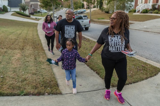 Leaders of Black Voters Matter canvass voters, in Atlanta, Georgia, on October 24, 2018. Photo credit: (c) Lynsey Weatherspoon/NYTimes/Redux