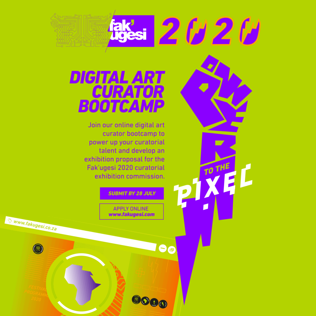 #Opportunities - Join the @fakugesi online digital art curator bootcamp to power up your curatorial talent and develop an exhibition proposal for the Fak'ugesi 2020 curatorial exhibition commission.   Deadline: 28 July 2020  APPLY: https://t.co/FZ3JXRkQP9 https://t.co/MliRXAdUJ5
