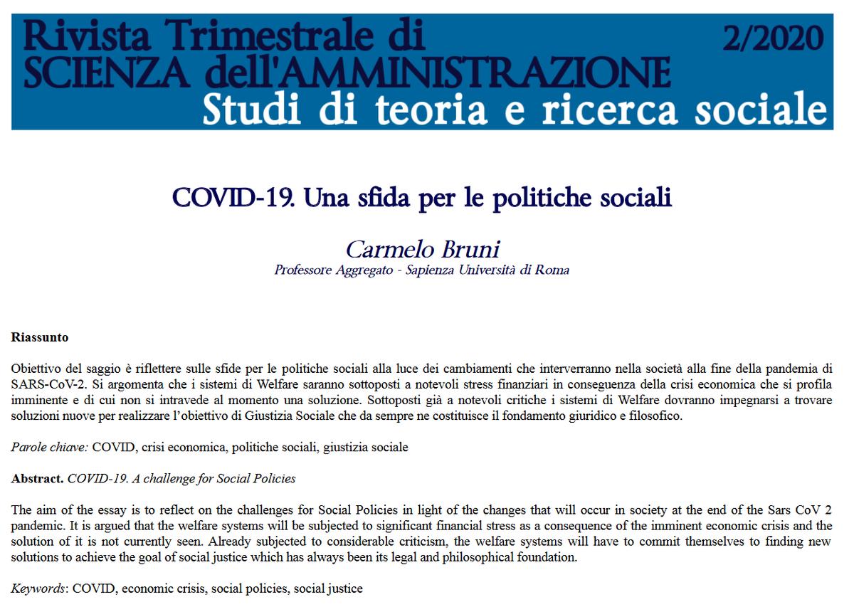 """‼️ #RTSA 2/2020 #Bruni """"COVID-19. Una sfida per le politiche sociali"""" #COVID19 #EconomicCrisis #socialpolicies #socialjustice #openaccess  ☑️https://t.co/iYrMC8vpqu https://t.co/KjGD3kzJfs"""