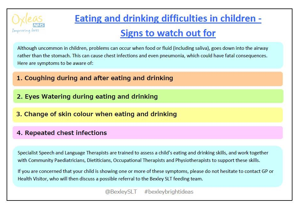 Did you know Speech and Language Therapists support children with eating and drinking difficulties? Here's some information about the signs to look for if you are concerned. @BexleySLT @OxleasNHS #BexleyBrightIdeas #feedingdifficulties #dysphagia