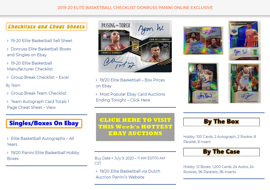 2019/20 Donruss Elite Basketball - Online Exclusive  Find Checklists and Card totals Cheat Sheets at https://t.co/3zx0wgLQi9 https://t.co/2xrSCGdpkx