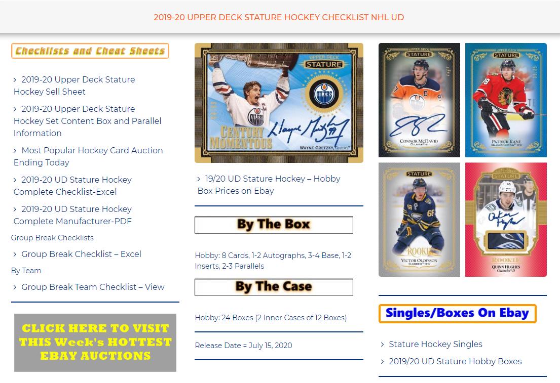 2019/20 Upper Deck Stature Hockey Team/Player/Set Checklists  https://t.co/3zx0wgLQi9 https://t.co/3rqYQjThB5