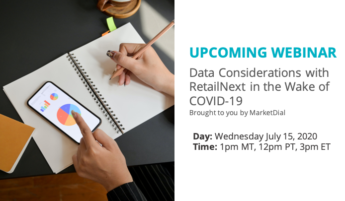 Upcoming Webinar   Data Considerations with RetailNext in the Wake of #COVID19 brought to you by @marketdial   Register now!  https://t.co/pEi24gHAKc https://t.co/MnkO3JFD8v