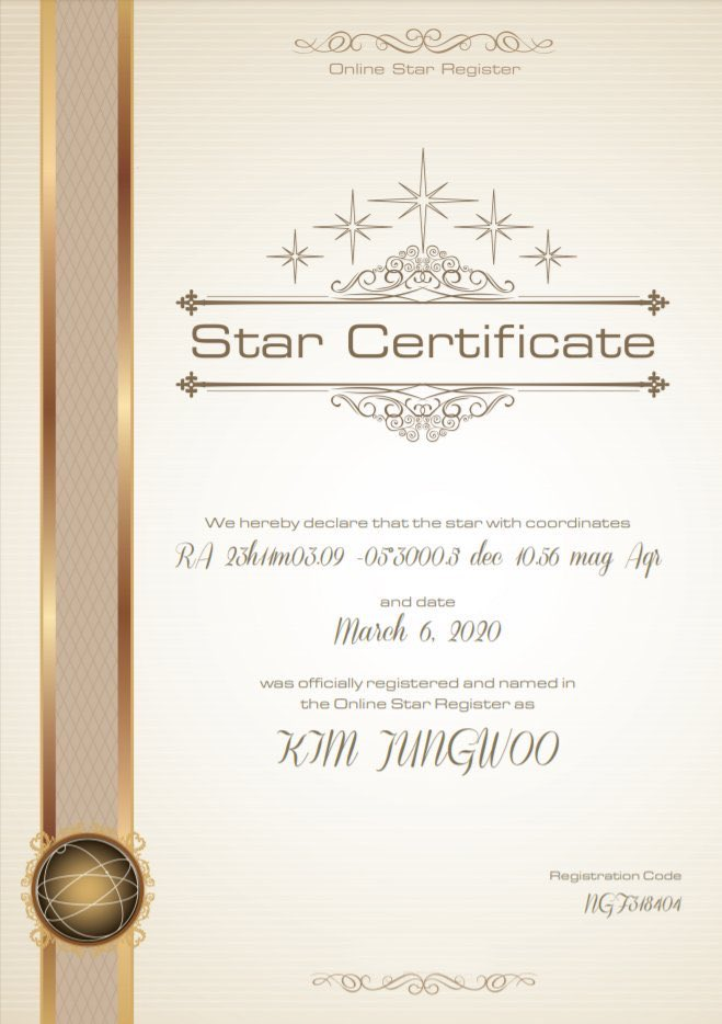 RT @WilliamsEren1: Just remembered that a star was named after Kim Jungwoo, he definitely is a very special star 😭 https://t.co/Y1U2kUetIK