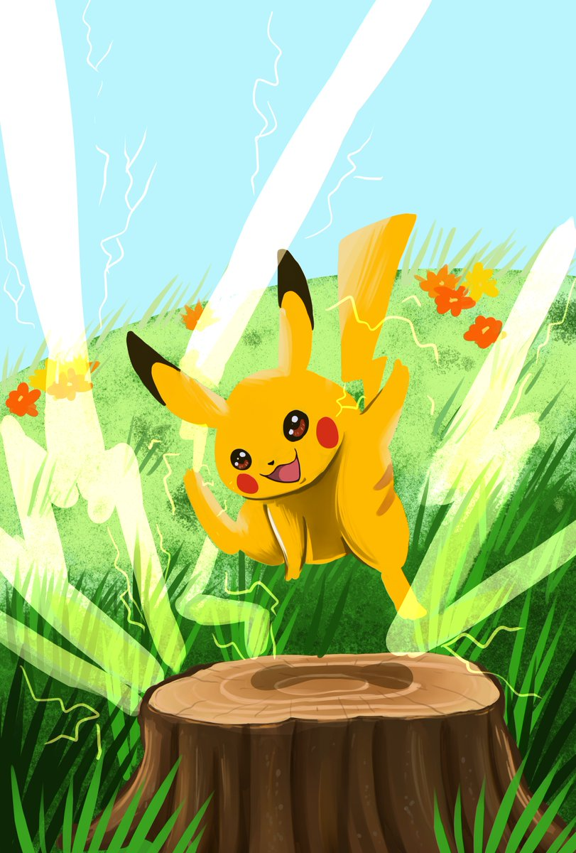 Can't wait for #pokemonsnap2 . I adore the original's janky logic where I can give Professor Oak photos of Articuno, Moltress, and even Mew but Nah, the pic worth the most amount in scientific research is apparently Pikachu on a stump. 😂 #pokemonfanart