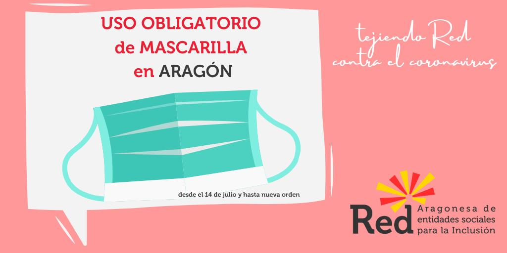 Para evitar contagios de #coronavirus, uso obligatorio de mascarilla en Aragón para mayores de 6 años, en todos los lugares públicos y aunque se pueda respetar la distancia social #redaragonesa #tejiendoredcontraelcoronavirus  @GobAragon  @zaragoza_es  @aytohuesca  @frenalacurva pic.twitter.com/ZQ3RHRZKuR