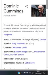 Anyone else noticed Cummings now described on a google search as political leader?