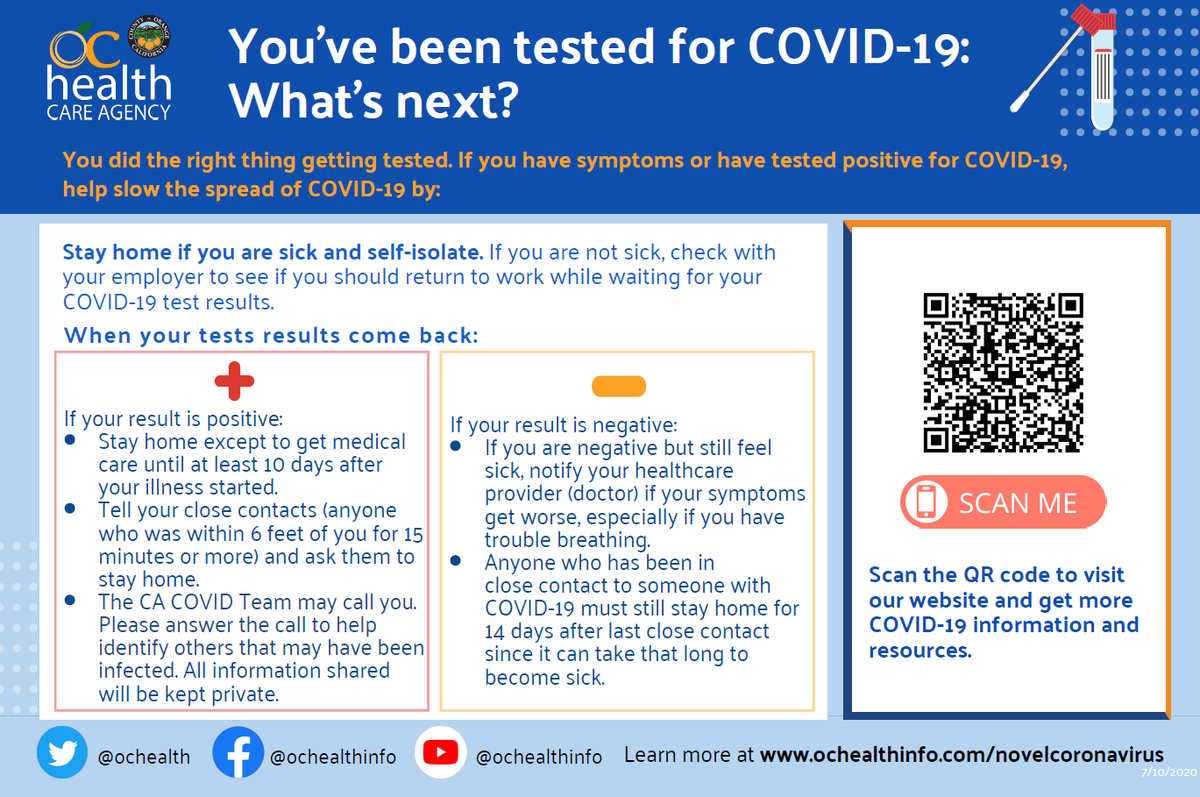 You've been tested for #OCCOVID19. What's next? Learn more at https://occovid19.ochealthinfo.com/waiting-test-results ….pic.twitter.com/Lfi0KxKmBC