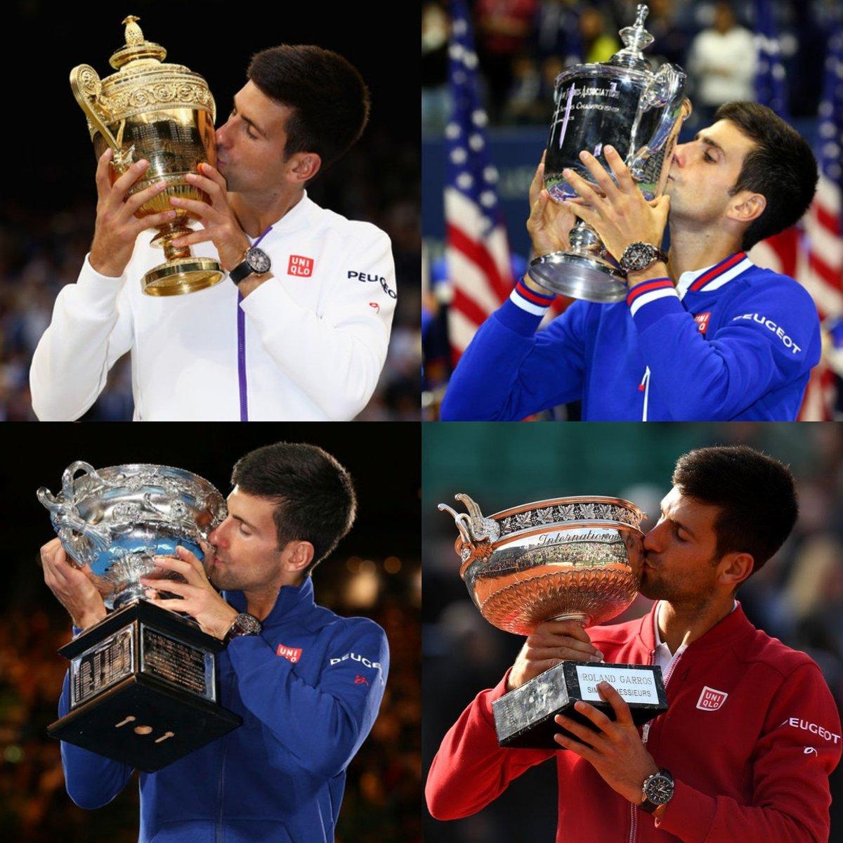 En 2016, Novak #Djokovic se convirtió en el tercer hombre en la historia en conquistar cuatro títulos de #GrandSlam consecutivos.   🔹#Wimbledon 2015 🔹#USOpen 2015 🔹#AustralianOpen 2016 🔹#RolandGarros 2016  📸 Vía: Zimbio https://t.co/PrXLwHaQ4F