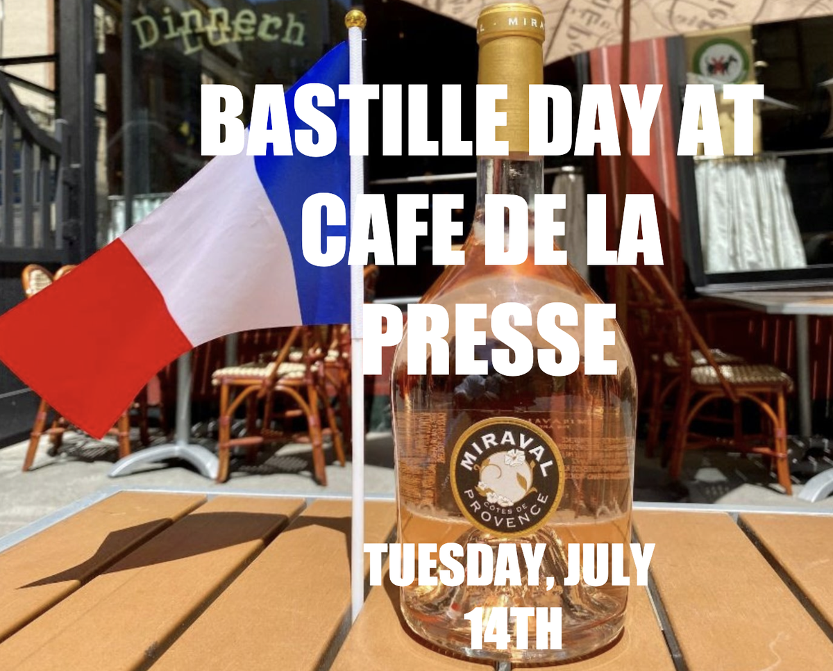 Celebrate with us tomorrow!  Join us for Bastille Day  at Café de la Presse Tuesday, July 14th Bastille Day Special:  SPECIAL: Bastille Day Moules Frites and Rose  A glass of Miraval Rose and MoulesFrites  for $29.00 Bottle of Miraval $29  @laurentmanriquepic.twitter.com/mpkQzfGJrA