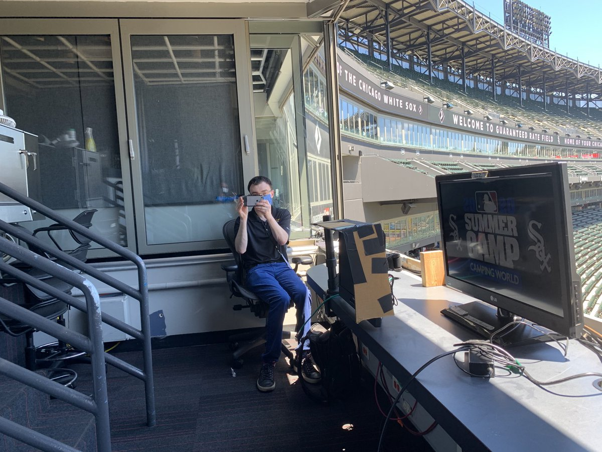 About to call today's White Sox intrasquad game with this masked man ⁦@jasonbenetti⁩. Watch it on the MyTeams app: bit.ly/2yhZhlW