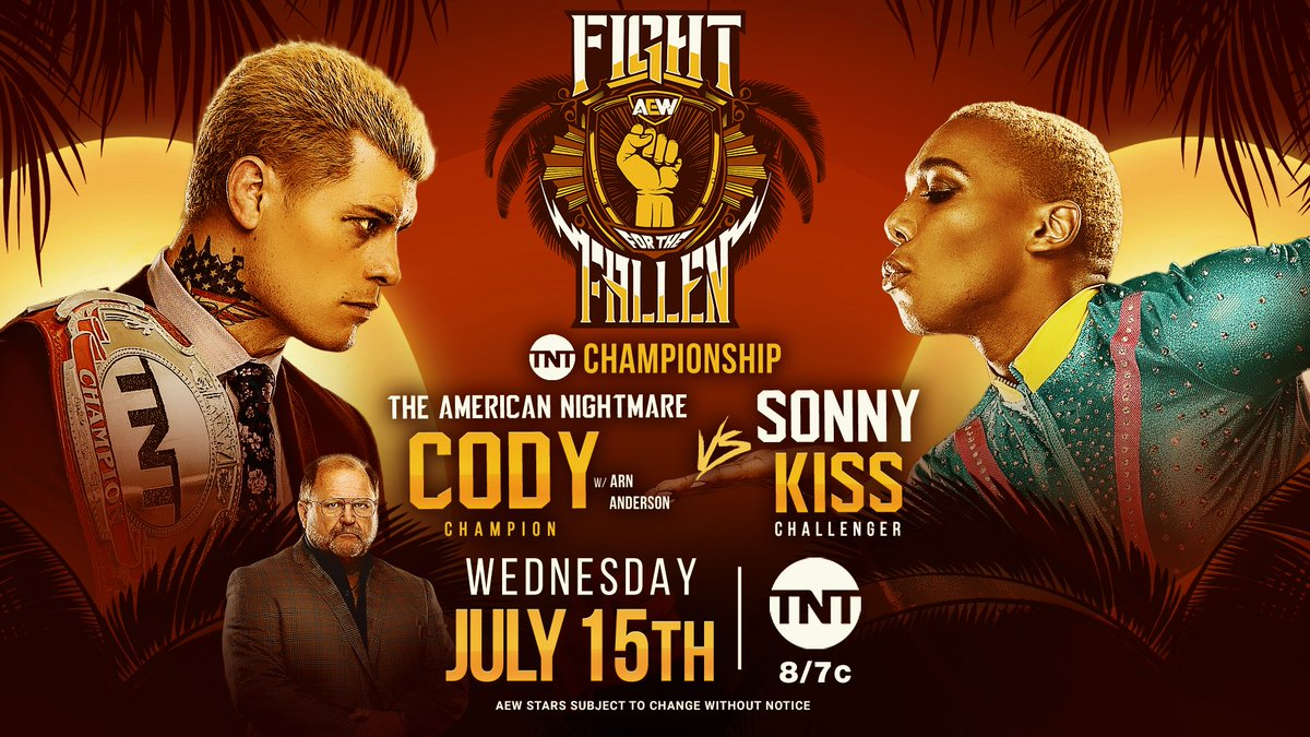 The TNT Championship is on the line at Fight for the Fallen as the champion @CodyRhodes will defend against @SonnyKissXO! Watch Fight for the Fallen on Wednesday, July 15th, at 8e7c on @TNTDrama. #AEWDynamite #AEWonTNT