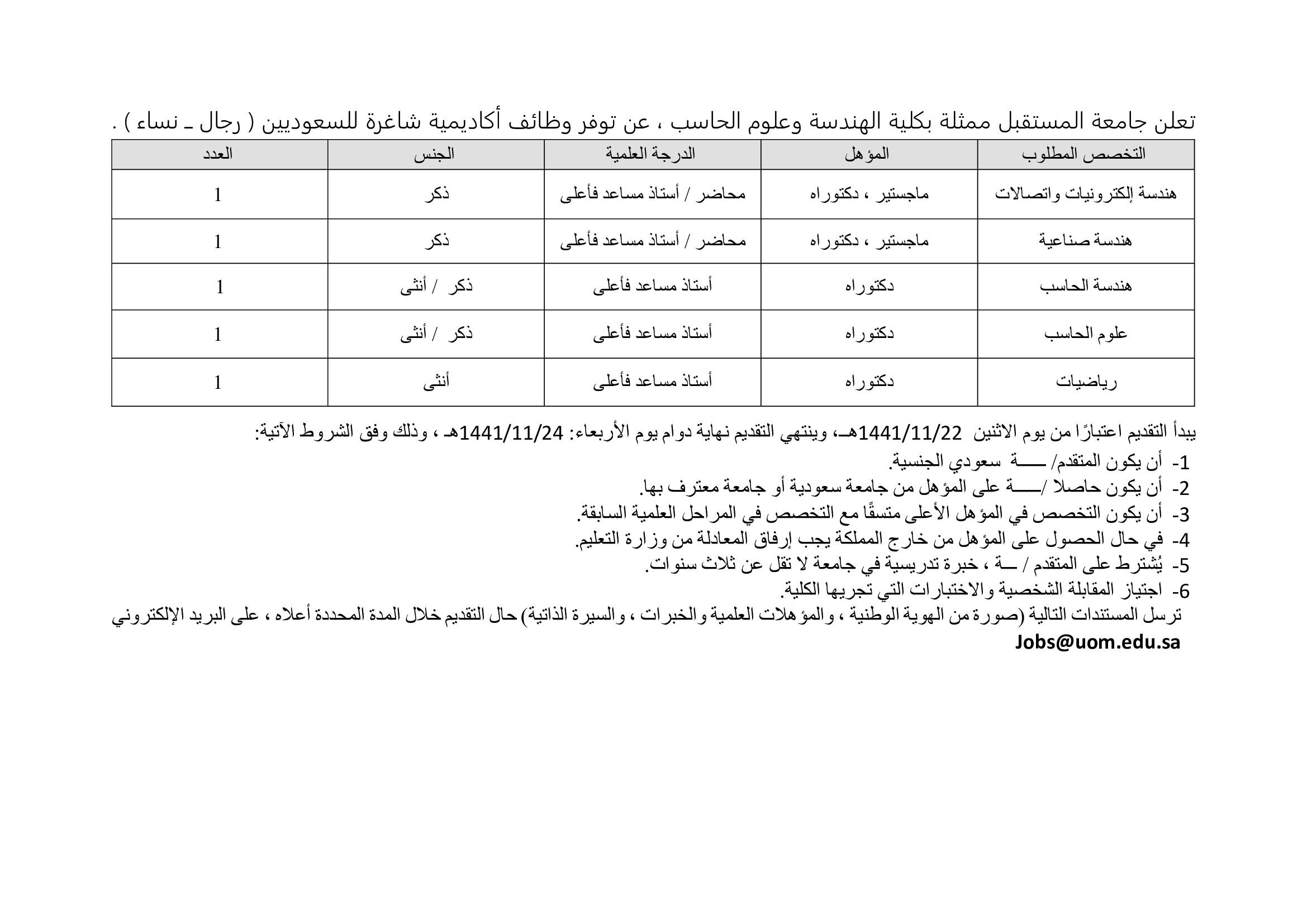 تعلن كلية الهندسة وعلوم الحاسب فى #جامعة_المستقبل عن وظائف أكاديمية للسعوديين ( رجال ــ نساء )  الايميل Jobs@uom.edu.sa  #وظائف_نسائيه #وظائف_اكاديمية #وظائف_شاغرة