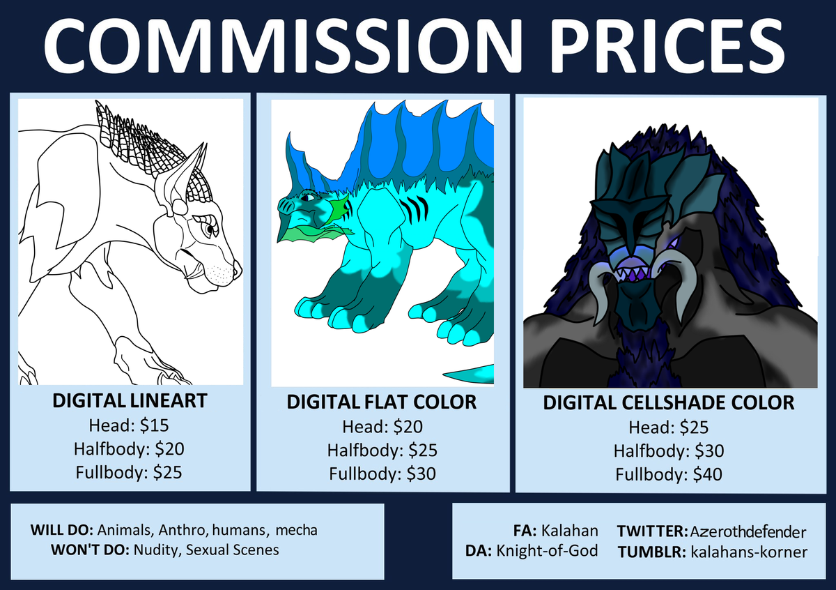 Updated my #Commission sheet to properly reflect my current art/skills. =3  #commissionsopen #commissions #NobodysArtistClub #under1kgang #under10kgang #characterdesign #opencommissions https://t.co/Ra4QNIb2mb