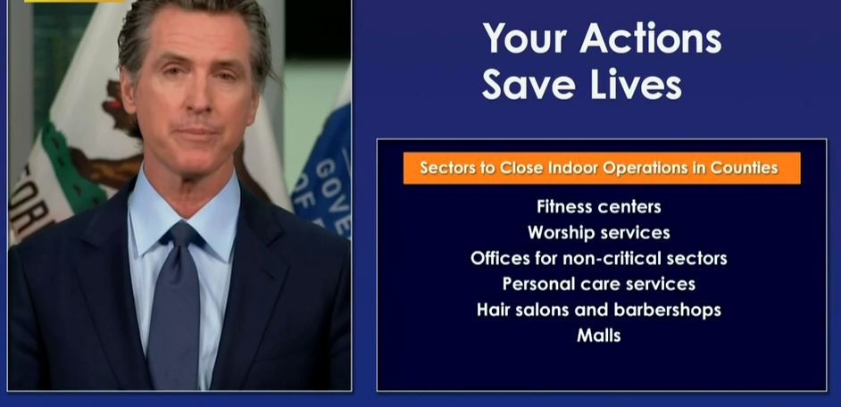 #BREAKING Gov. Newsom says 30 counties including Los Angeles, Orange Ventura to close indoor operations at fitness centers, worship services, hair salons, malls https://t.co/PEnMq4weTL https://t.co/HwGZFy0xJn