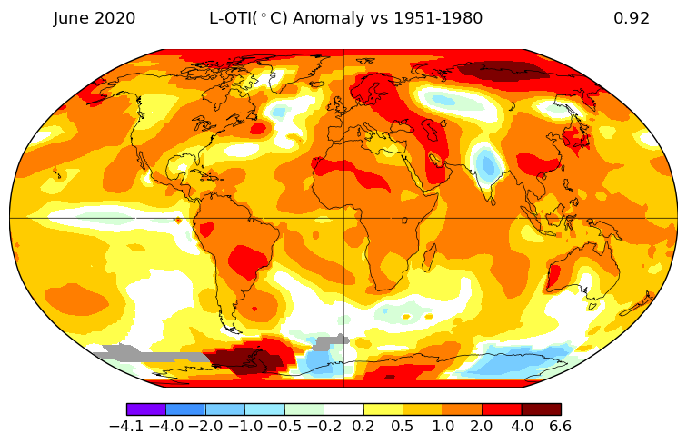 NASA: June 2020 was the hottest on record globally, together with 2019: +0.93°C above its 1951-1980 average. Most abnormally hot/mild weather (+4 to 6.6°C above normal) in N-Siberia and W-Antarctica. Cool in part of Russia, India, part of Antarctic, and the N-Atlantic cool blob