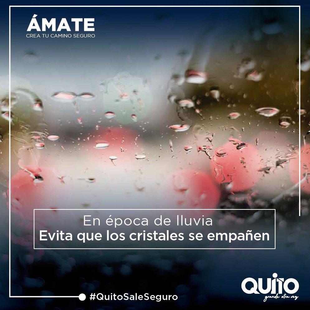 Recuerda que en épocas de lluvias, necesitas ir más concentrado y tener buena visión del camino. No permitas que los cristales se empañen. #QuitoSaleSeguro https://t.co/P9h9WPg5sb