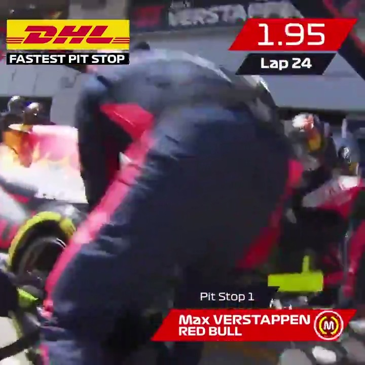 UNDER TWO SECONDS ⏱🔥  The DHL Fastest Pit Stop Award went to @redbullracing on Sunday with this amazing team effort at the Styrian Grand Prix 👀  #AustrianGP 🇦🇹 #MomentsThatDeliver @DHL_Motorsports