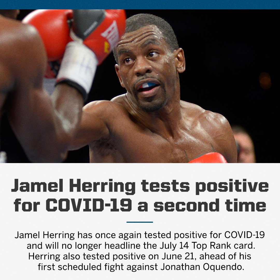 Jamel Herring out of Tuesday night's @TRBoxing main event with second positive COVID-19 result. https://t.co/SGZQsMoMbt