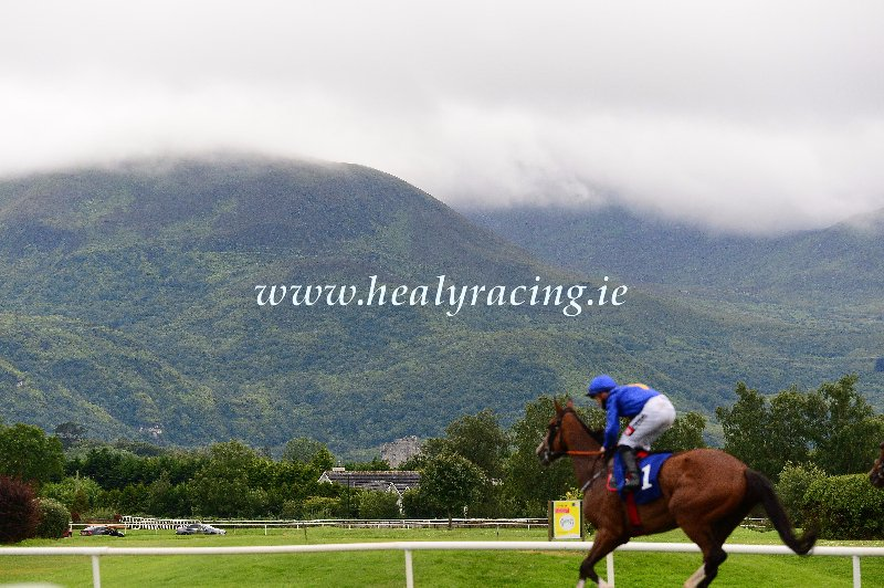 @KillarneyRaces 13-7-2020 Winner The Abbey and @LeighRoche1992 for trainer @gelliott_racing return to the winners enclosure at the @countykerry venue with Mangerton Mountain in background. (c)healyracing.ie